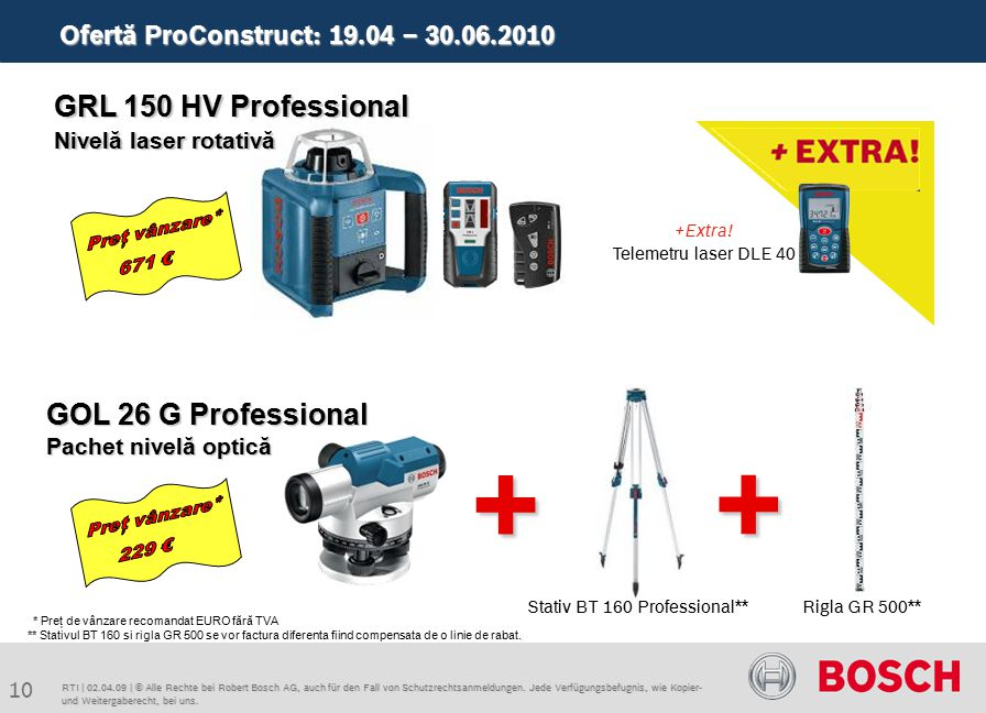 Ofertă ProConstruct: 19.04 – 30.06.2010 10 RTI | 02.04.09 | © Alle Rechte bei Robert Bosch AG, auch für den Fall von Schutzrechtsanmeldungen. Jede Ver