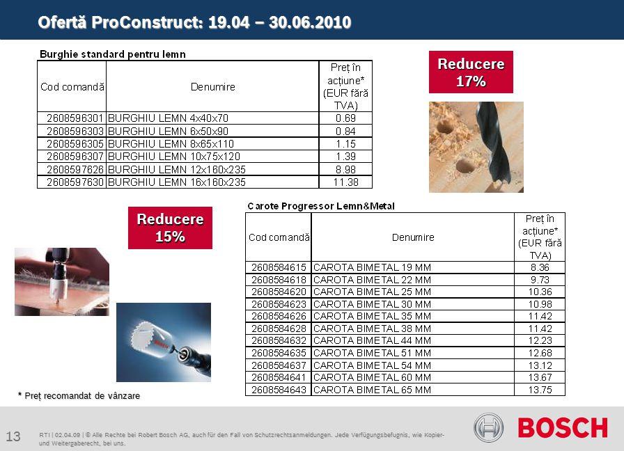 Ofertă ProConstruct: 19.04 – 30.06.2010 13 RTI | 02.04.09 | © Alle Rechte bei Robert Bosch AG, auch für den Fall von Schutzrechtsanmeldungen.