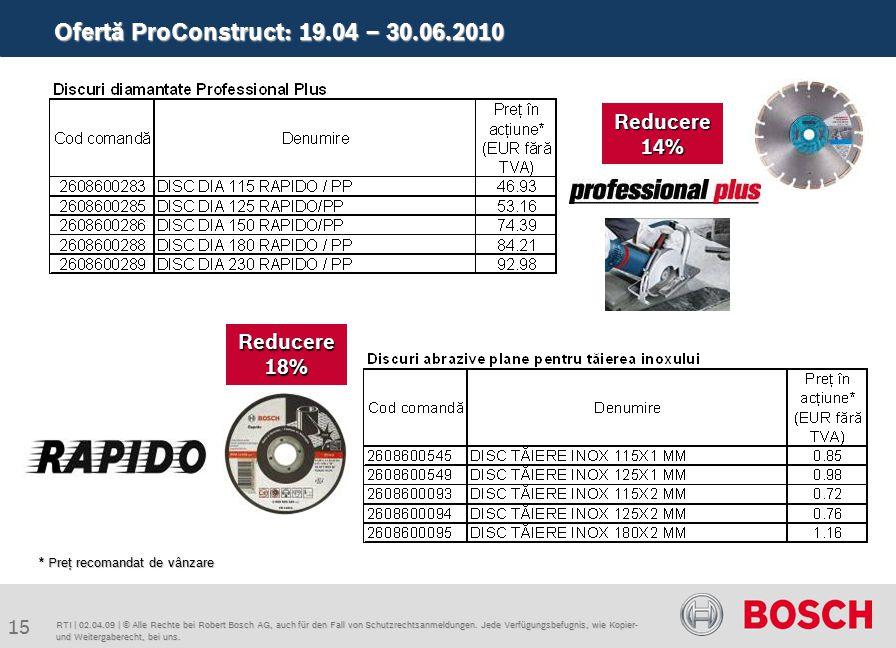 Ofertă ProConstruct: 19.04 – 30.06.2010 15 RTI | 02.04.09 | © Alle Rechte bei Robert Bosch AG, auch für den Fall von Schutzrechtsanmeldungen.