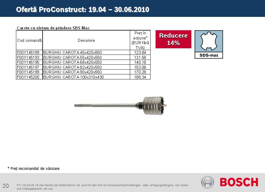 Ofertă ProConstruct: 19.04 – 30.06.2010 20 RTI | 02.04.09 | © Alle Rechte bei Robert Bosch AG, auch für den Fall von Schutzrechtsanmeldungen. Jede Ver