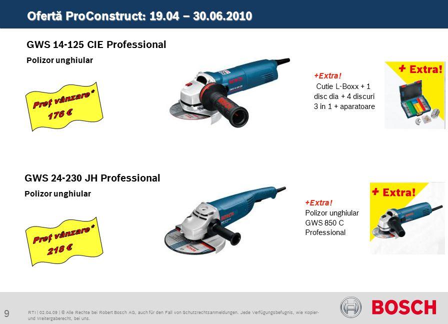 Ofertă ProConstruct: 19.04 – 30.06.2010 20 RTI   02.04.09   © Alle Rechte bei Robert Bosch AG, auch für den Fall von Schutzrechtsanmeldungen.