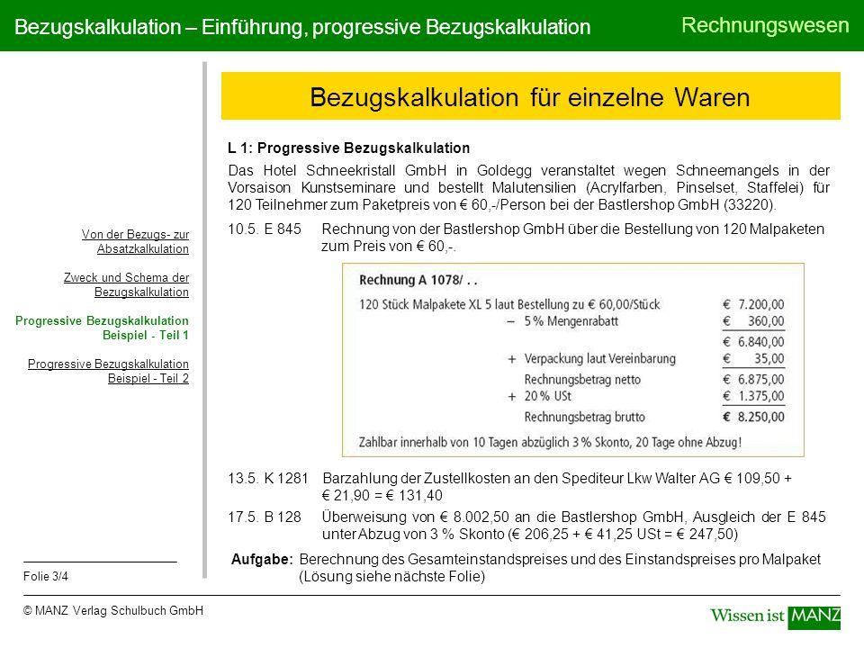 © MANZ Verlag Schulbuch GmbH Rechnungswesen Folie 3/4 Bezugskalkulation – Einführung, progressive Bezugskalkulation Bezugskalkulation für einzelne War