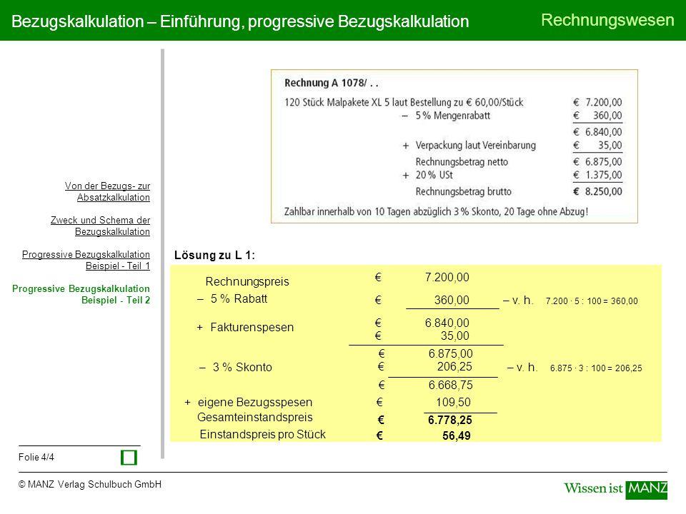 © MANZ Verlag Schulbuch GmbH Rechnungswesen Folie 4/4 Bezugskalkulation – Einführung, progressive Bezugskalkulation Lösung zu L 1: Von der Bezugs- zur