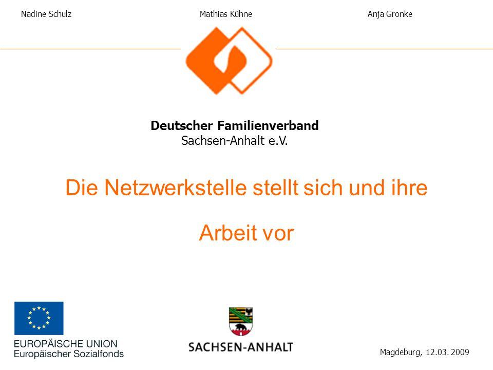 Die Netzwerkstelle stellt sich und ihre Arbeit vor Deutscher Familienverband Sachsen-Anhalt e.V. Magdeburg, 12.03. 2009 Nadine SchulzAnja Gronke Mathi