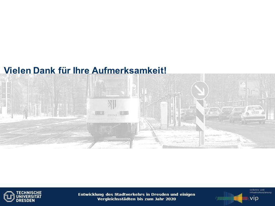 Entwicklung des Stadtverkehrs in Dresden und einigen Vergleichsstädten bis zum Jahr 2020 Vielen Dank für Ihre Aufmerksamkeit!