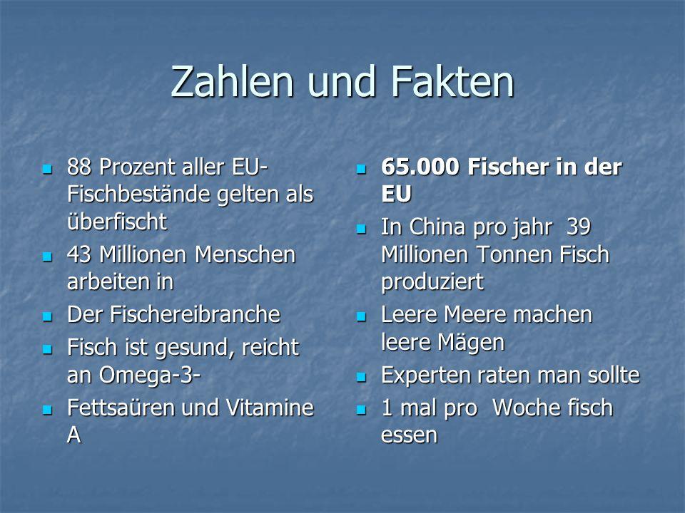 Zahlen und Fakten 88 Prozent aller EU- Fischbestände gelten als überfischt 88 Prozent aller EU- Fischbestände gelten als überfischt 43 Millionen Mensc