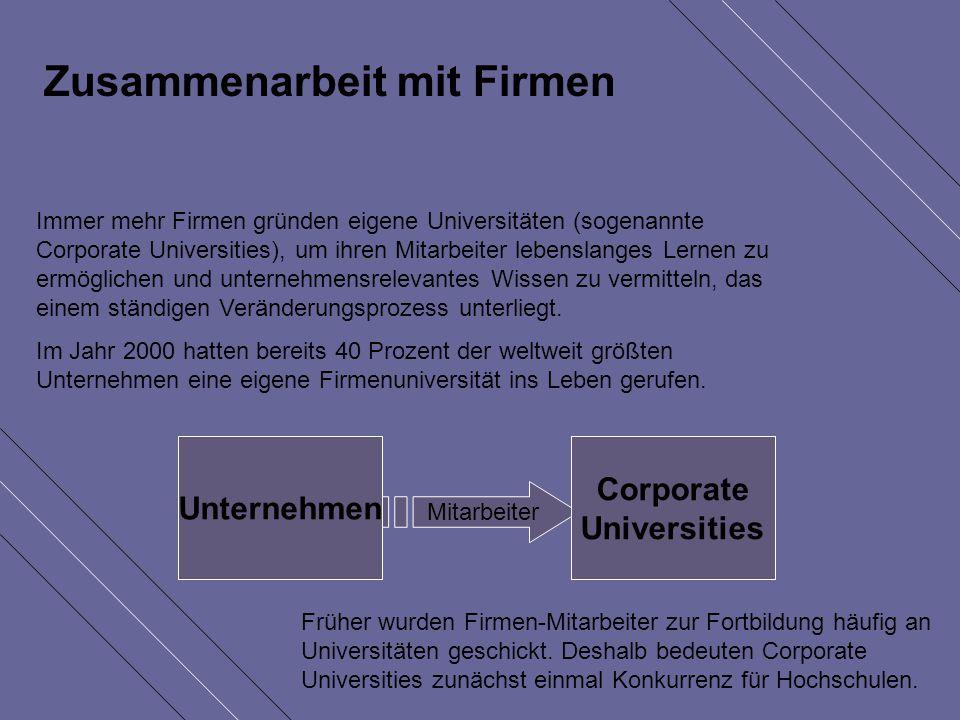 Zusammenarbeit mit Firmen Immer mehr Firmen gründen eigene Universitäten (sogenannte Corporate Universities), um ihren Mitarbeiter lebenslanges Lernen zu ermöglichen und unternehmensrelevantes Wissen zu vermitteln, das einem ständigen Veränderungsprozess unterliegt.