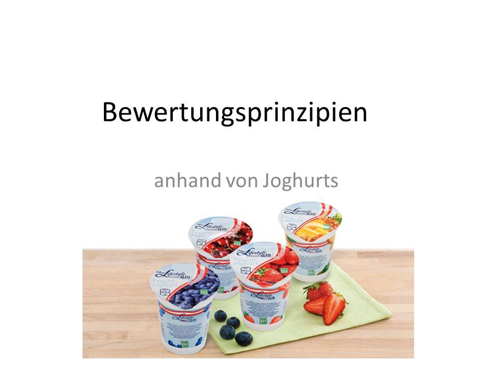 Bewertungsprinzipien anhand von Joghurts