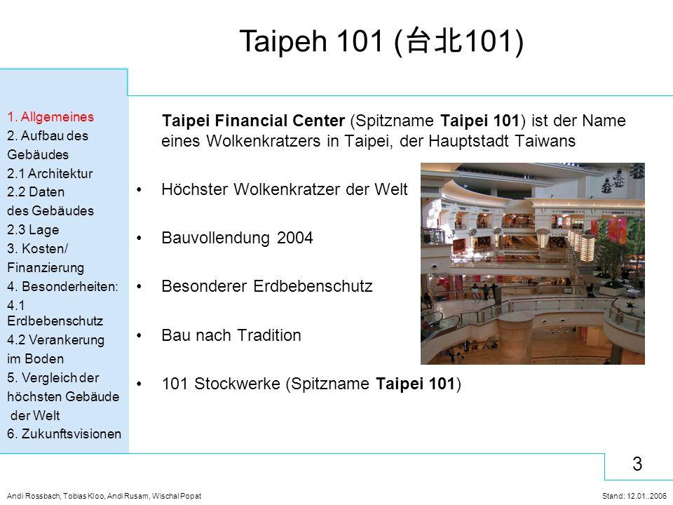 3 Andi Rossbach, Tobias Kloo, Andi Rusam, Wischal Popat Stand: 12.01..2006 Taipeh 101 ( 台北 101) Taipei Financial Center (Spitzname Taipei 101) ist der