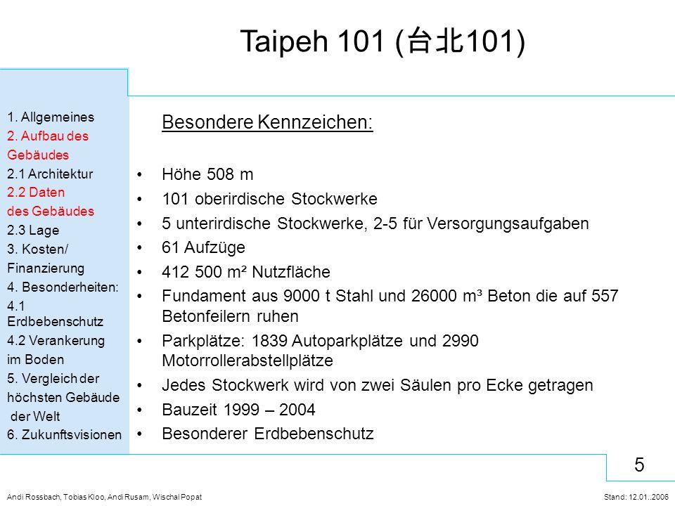 6 Andi Rossbach, Tobias Kloo, Andi Rusam, Wischal Popat Stand: 12.01..2006 Taipeh 101 ( 台北 101) 1.