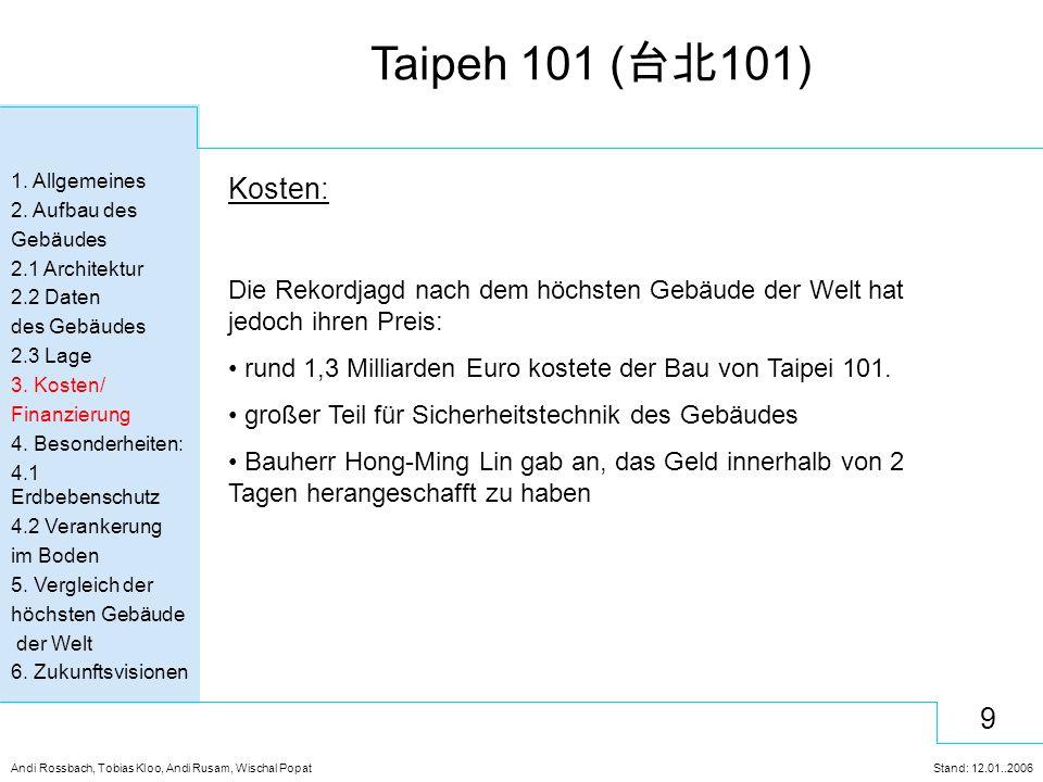 10 Andi Rossbach, Tobias Kloo, Andi Rusam, Wischal Popat Stand: 12.01..2006 Taipeh 101 ( 台北 101) 1.