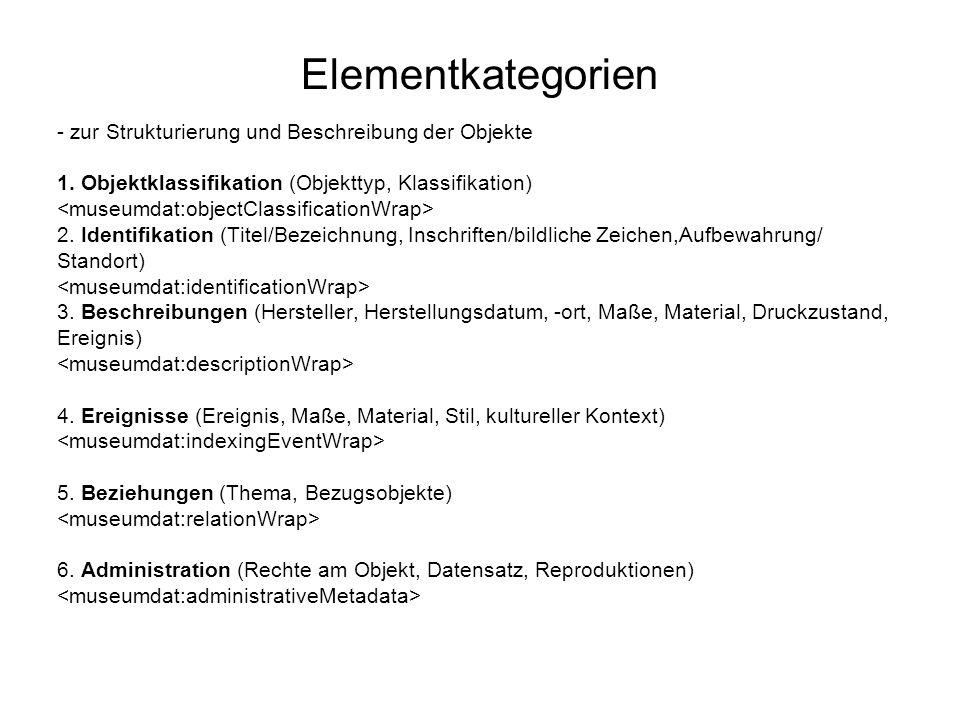 Elementkategorien - zur Strukturierung und Beschreibung der Objekte 1. Objektklassifikation (Objekttyp, Klassifikation) 2. Identifikation (Titel/Bezei