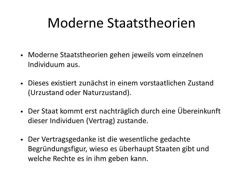 Moderne Staatstheorien Moderne Staatstheorien gehen jeweils vom einzelnen Individuum aus.