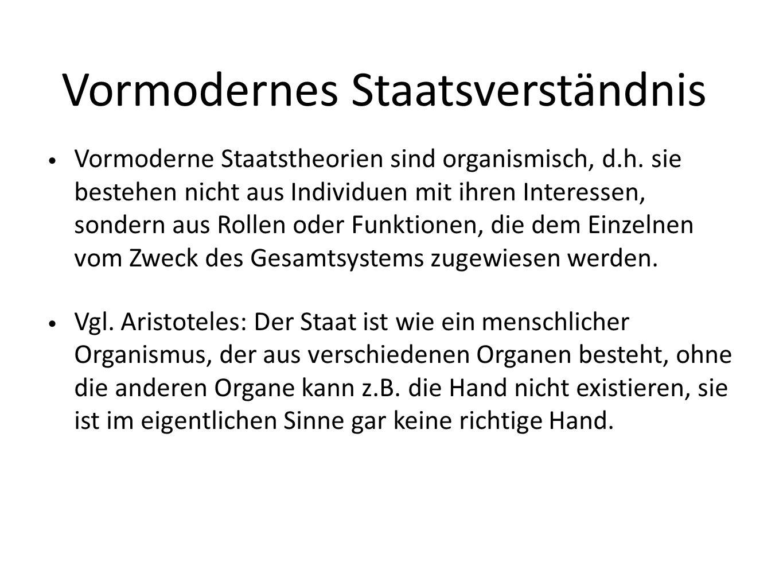 Vormodernes Staatsverständnis Vormoderne Staatstheorien sind organismisch, d.h.