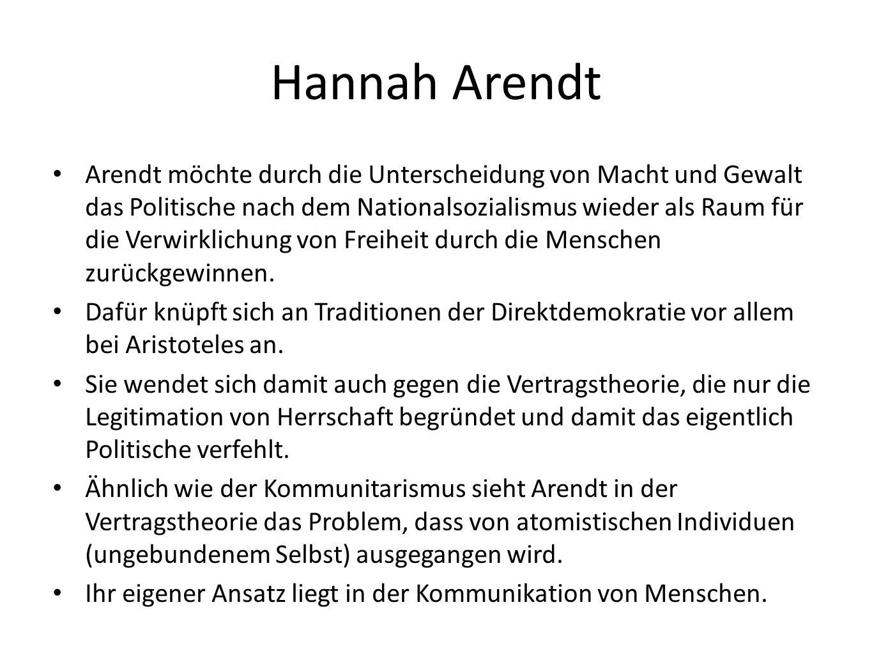 Hannah Arendt Arendt möchte durch die Unterscheidung von Macht und Gewalt das Politische nach dem Nationalsozialismus wieder als Raum für die Verwirklichung von Freiheit durch die Menschen zurückgewinnen.