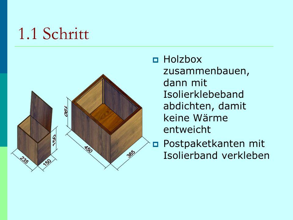 1.1 Schritt  Holzbox zusammenbauen, dann mit Isolierklebeband abdichten, damit keine Wärme entweicht  Postpaketkanten mit Isolierband verkleben