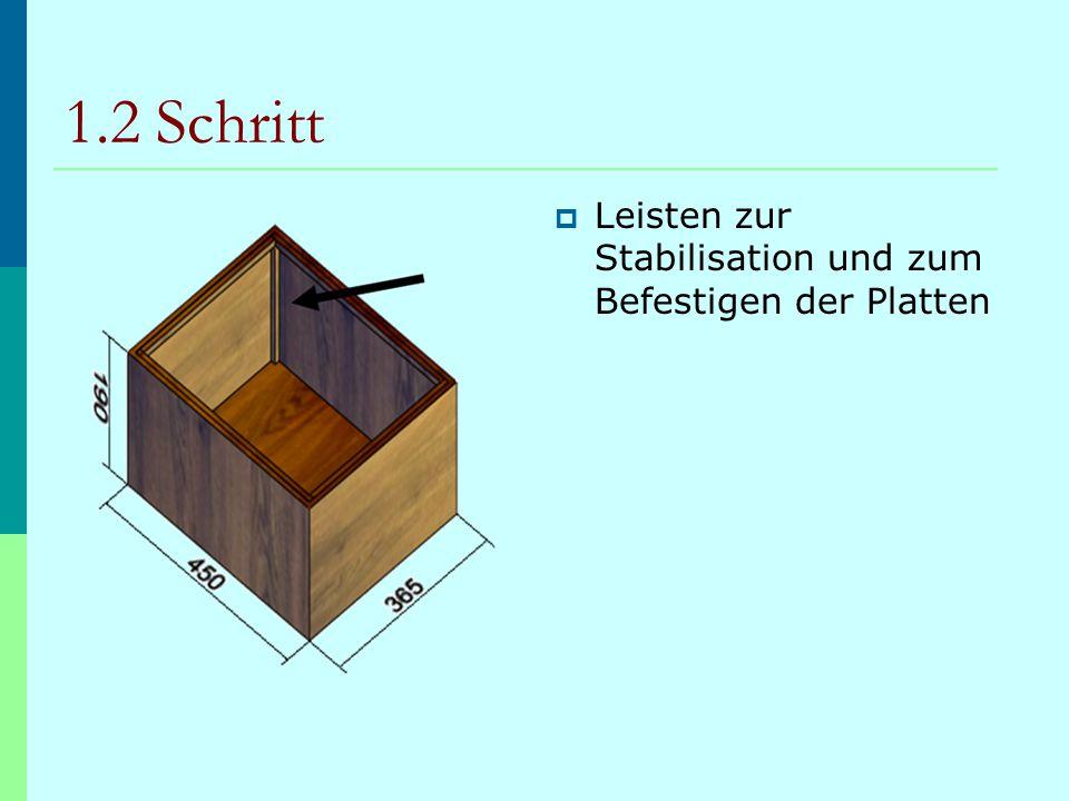 1.2 Schritt  Leisten zur Stabilisation und zum Befestigen der Platten