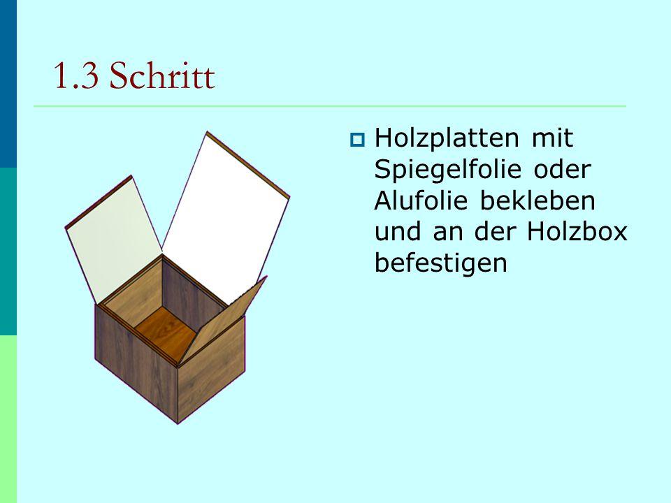 1.3 Schritt  Holzplatten mit Spiegelfolie oder Alufolie bekleben und an der Holzbox befestigen