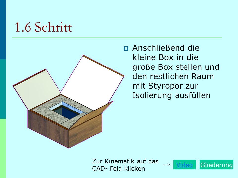 1.6 Schritt  Anschließend die kleine Box in die große Box stellen und den restlichen Raum mit Styropor zur Isolierung ausfüllen VideoGliederung Zur K
