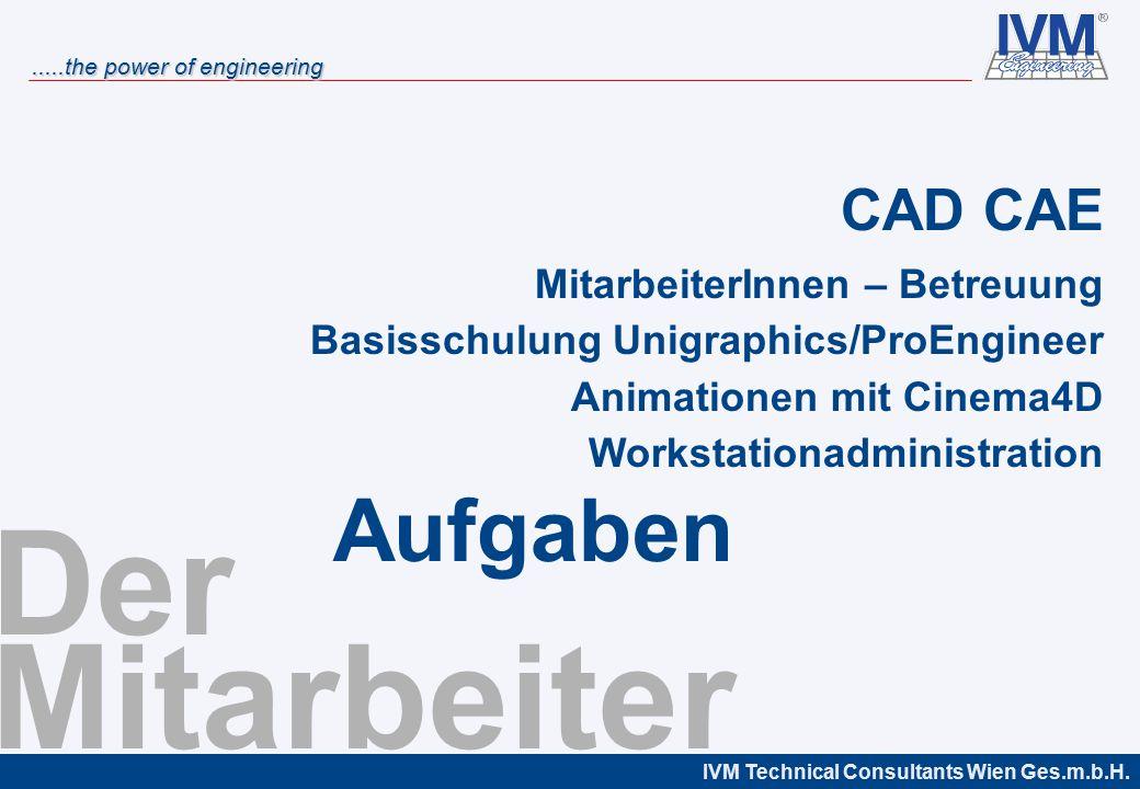 IVM Technical Consultants Wien Ges.m.b.H......the power of engineering Der Mitarbeiter CAD CAE MitarbeiterInnen – Betreuung Basisschulung Unigraphics/