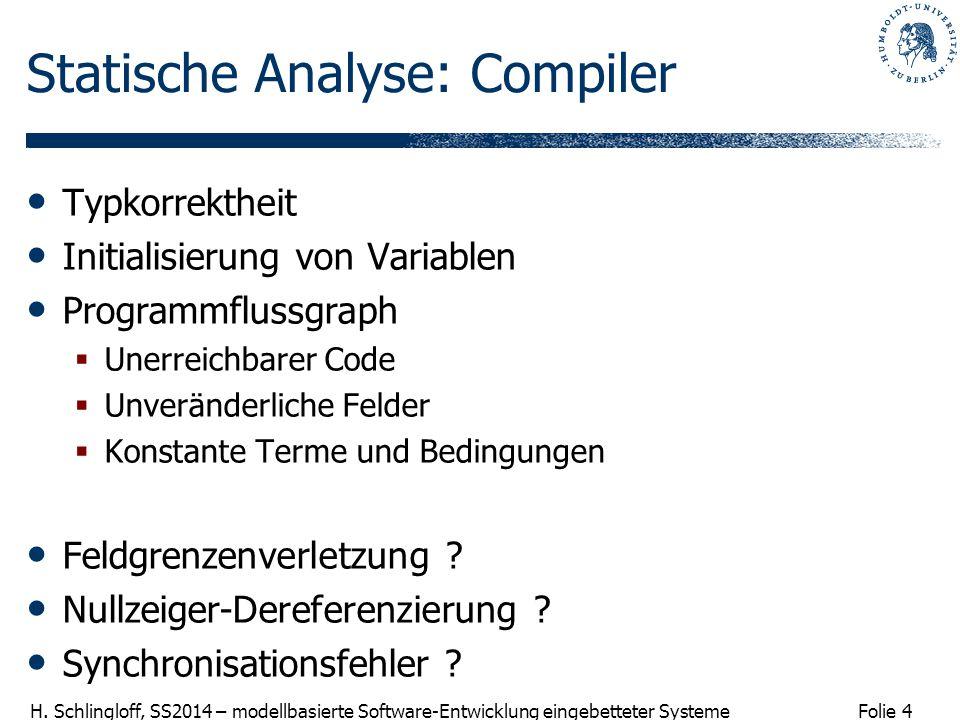 Folie 4 H. Schlingloff, SS2014 – modellbasierte Software-Entwicklung eingebetteter Systeme Statische Analyse: Compiler Typkorrektheit Initialisierung