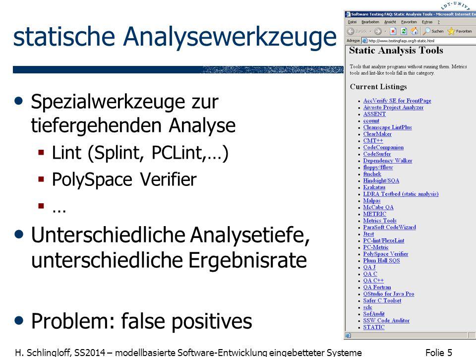 Folie 5 H. Schlingloff, SS2014 – modellbasierte Software-Entwicklung eingebetteter Systeme statische Analysewerkzeuge Spezialwerkzeuge zur tiefergehen