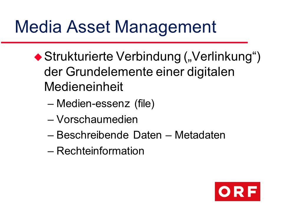 """Media Asset Management u Strukturierte Verbindung (""""Verlinkung ) der Grundelemente einer digitalen Medieneinheit –Medien-essenz (file) –Vorschaumedien –Beschreibende Daten – Metadaten –Rechteinformation"""