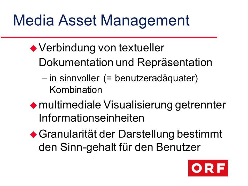 Media Asset Management u Verbindung von textueller Dokumentation und Repräsentation –in sinnvoller (= benutzeradäquater) Kombination u multimediale Visualisierung getrennter Informationseinheiten u Granularität der Darstellung bestimmt den Sinn-gehalt für den Benutzer