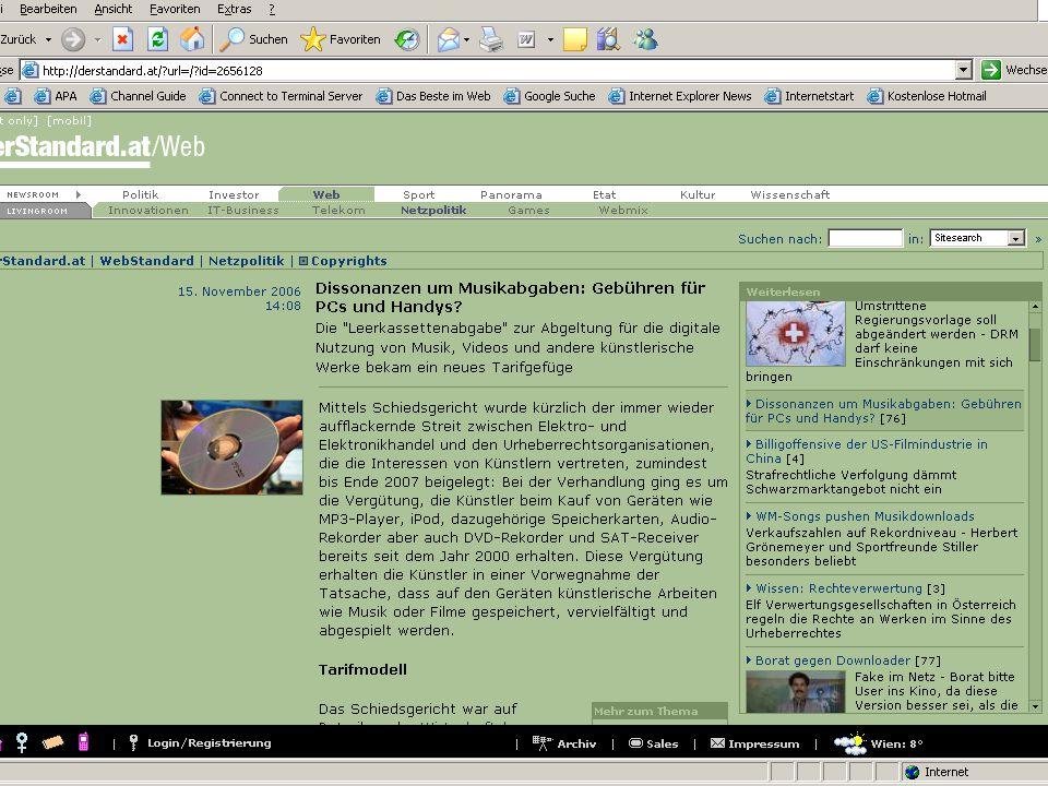Audiovisuelle Archive in der digitalen (Medien-)Welt Teil 2 Herbert Hayduck WS 2006