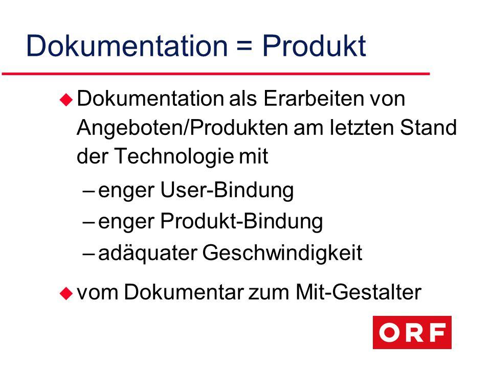 Dokumentation = Produkt u Dokumentation als Erarbeiten von Angeboten/Produkten am letzten Stand der Technologie mit –enger User-Bindung –enger Produkt-Bindung –adäquater Geschwindigkeit u vom Dokumentar zum Mit-Gestalter