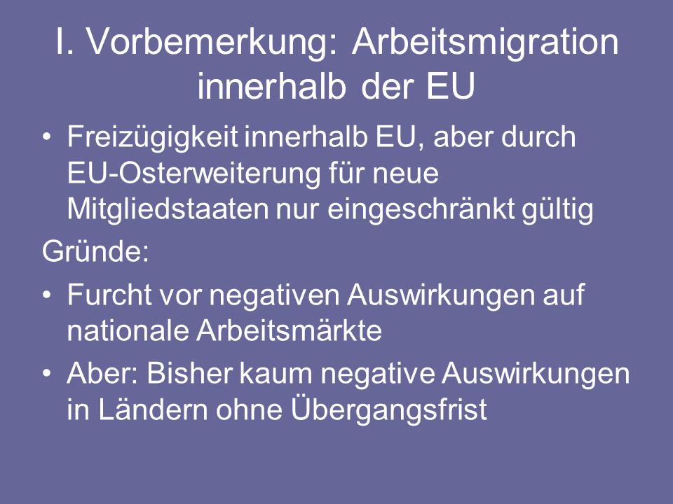 I. Vorbemerkung: Arbeitsmigration innerhalb der EU Freizügigkeit innerhalb EU, aber durch EU-Osterweiterung für neue Mitgliedstaaten nur eingeschränkt