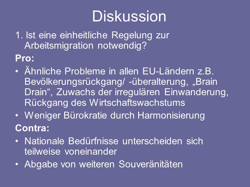 Diskussion 1. Ist eine einheitliche Regelung zur Arbeitsmigration notwendig? Pro: Ähnliche Probleme in allen EU-Ländern z.B. Bevölkerungsrückgang/ -üb