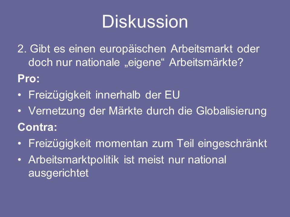 """Diskussion 2. Gibt es einen europäischen Arbeitsmarkt oder doch nur nationale """"eigene"""" Arbeitsmärkte? Pro: Freizügigkeit innerhalb der EU Vernetzung d"""