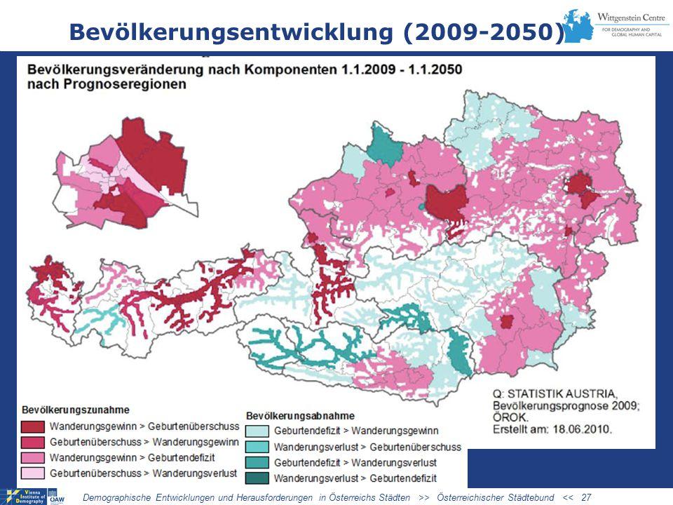 Bevölkerungsentwicklung (2009-2050) Demographische Entwicklungen und Herausforderungen in Österreichs Städten >> Österreichischer Städtebund << 27