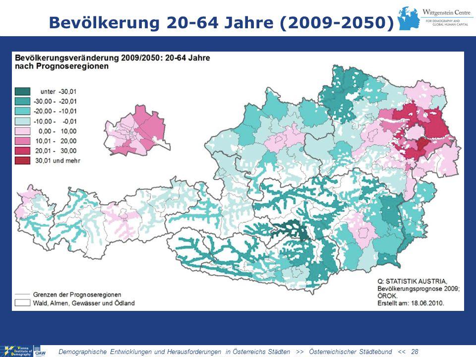 Bevölkerung 20-64 Jahre (2009-2050) Demographische Entwicklungen und Herausforderungen in Österreichs Städten >> Österreichischer Städtebund << 28