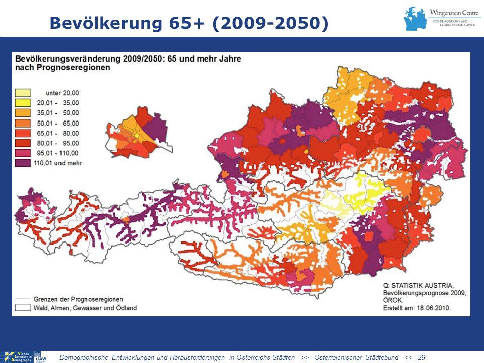 Bevölkerung 65+ (2009-2050) Demographische Entwicklungen und Herausforderungen in Österreichs Städten >> Österreichischer Städtebund << 29