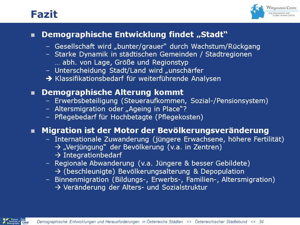 """Fazit Demographische Entwicklung findet """"Stadt –Gesellschaft wird """"bunter/grauer durch Wachstum/Rückgang –Starke Dynamik in städtischen Gemeinden / Stadtregionen … abh."""