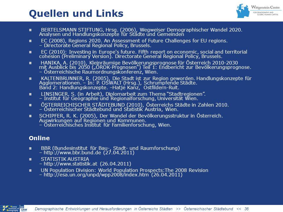 Quellen und Links BERTELSMANN STIFTUNG, Hrsg.(2006), Wegweiser Demographischer Wandel 2020.