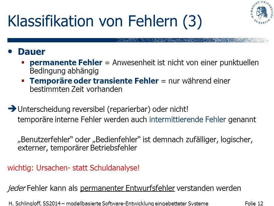 Folie 12 H. Schlingloff, SS2014 – modellbasierte Software-Entwicklung eingebetteter Systeme Klassifikation von Fehlern (3) Dauer  permanente Fehler =
