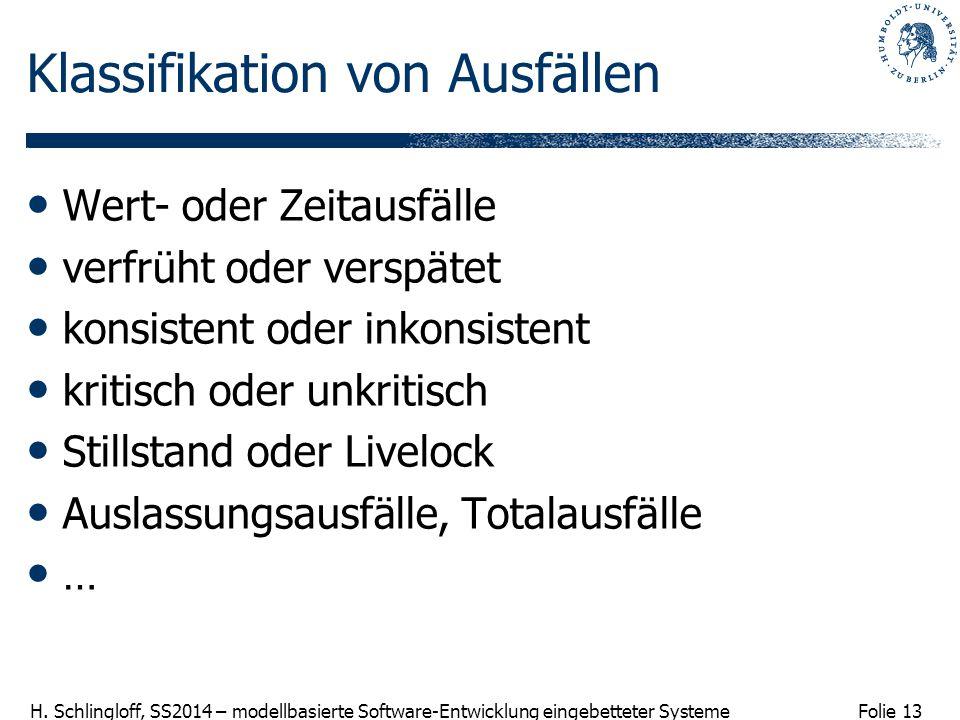 Folie 13 H. Schlingloff, SS2014 – modellbasierte Software-Entwicklung eingebetteter Systeme Klassifikation von Ausfällen Wert- oder Zeitausfälle verfr