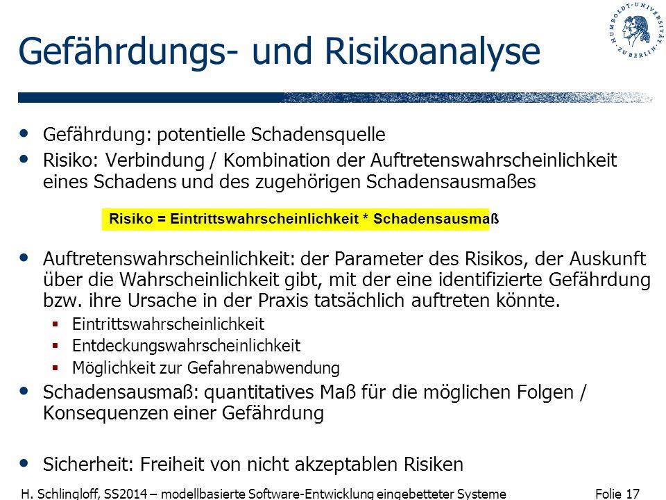 Folie 17 H. Schlingloff, SS2014 – modellbasierte Software-Entwicklung eingebetteter Systeme Gefährdungs- und Risikoanalyse Gefährdung: potentielle Sch