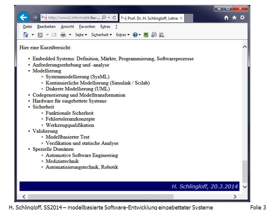 Folie 3 H. Schlingloff, SS2014 – modellbasierte Software-Entwicklung eingebetteter Systeme