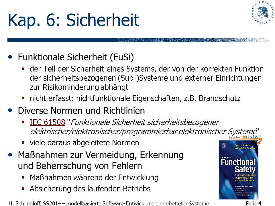 Folie 4 H. Schlingloff, SS2014 – modellbasierte Software-Entwicklung eingebetteter Systeme Kap. 6: Sicherheit Funktionale Sicherheit (FuSi)  der Teil