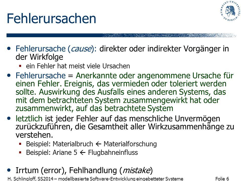 Folie 6 H. Schlingloff, SS2014 – modellbasierte Software-Entwicklung eingebetteter Systeme Fehlerursachen Fehlerursache (cause): direkter oder indirek