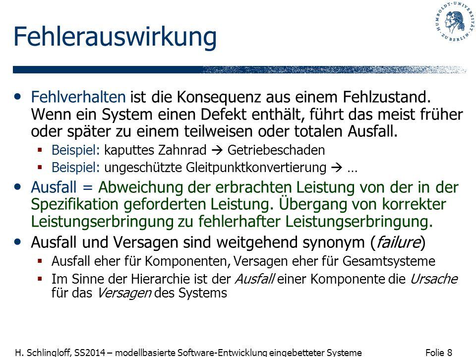 Folie 8 H. Schlingloff, SS2014 – modellbasierte Software-Entwicklung eingebetteter Systeme Fehlerauswirkung Fehlverhalten ist die Konsequenz aus einem