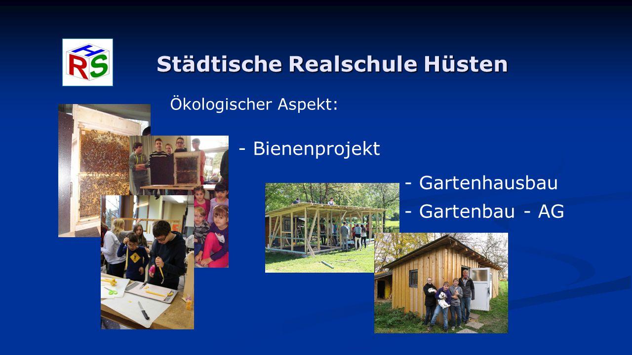 Städtische Realschule Hüsten Ökologischer Aspekt: - Bienenprojekt - Gartenhausbau - Gartenbau - AG