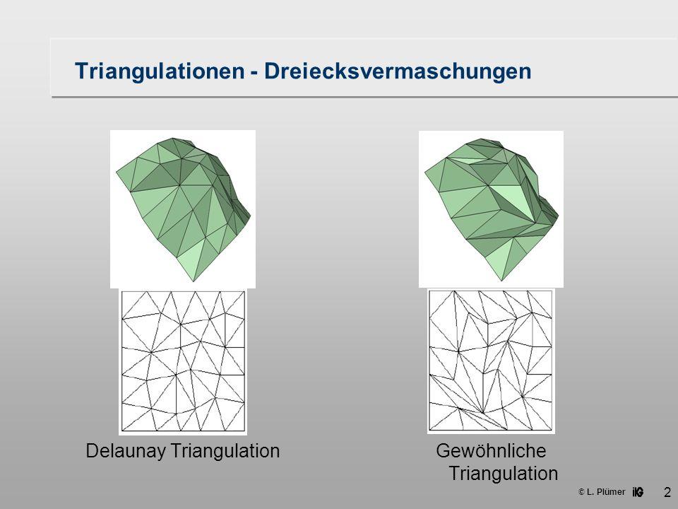 © L. Plümer 2 Triangulationen - Dreiecksvermaschungen Delaunay TriangulationGewöhnliche Triangulation