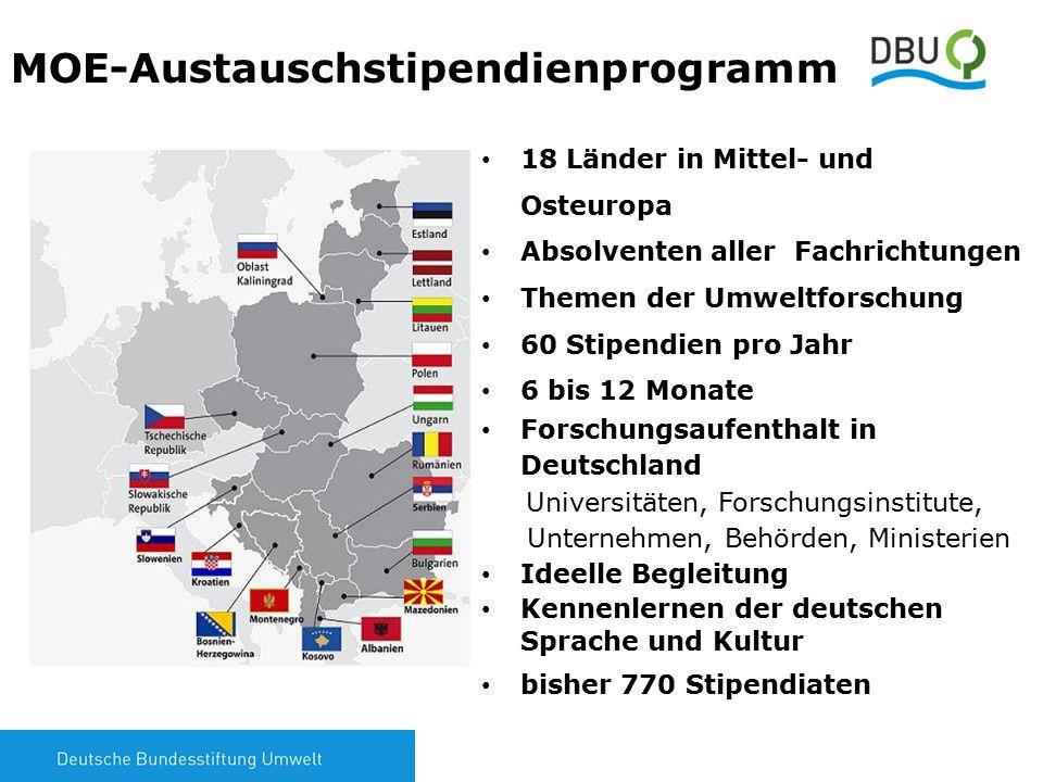 2 MOE-Austauschstipendienprogramm 18 Länder in Mittel- und Osteuropa Absolventen aller Fachrichtungen Themen der Umweltforschung 60 Stipendien pro Jah