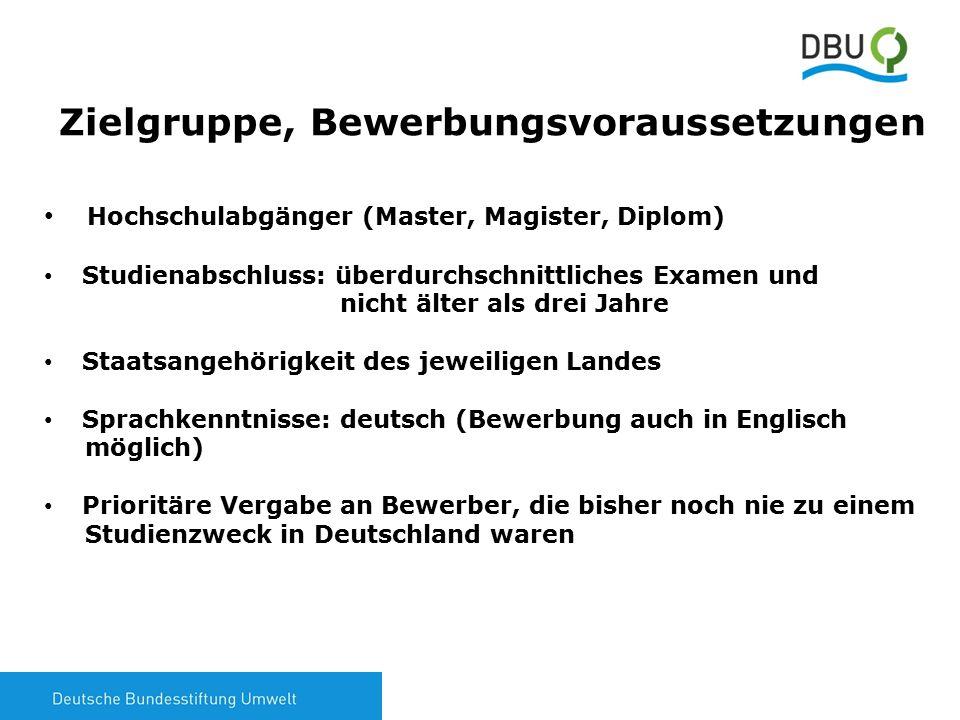 4 Zielgruppe, Bewerbungsvoraussetzungen Hochschulabgänger (Master, Magister, Diplom) Studienabschluss: überdurchschnittliches Examen und nicht älter als drei Jahre Staatsangehörigkeit des jeweiligen Landes Sprachkenntnisse: deutsch (Bewerbung auch in Englisch möglich) Prioritäre Vergabe an Bewerber, die bisher noch nie zu einem Studienzweck in Deutschland waren