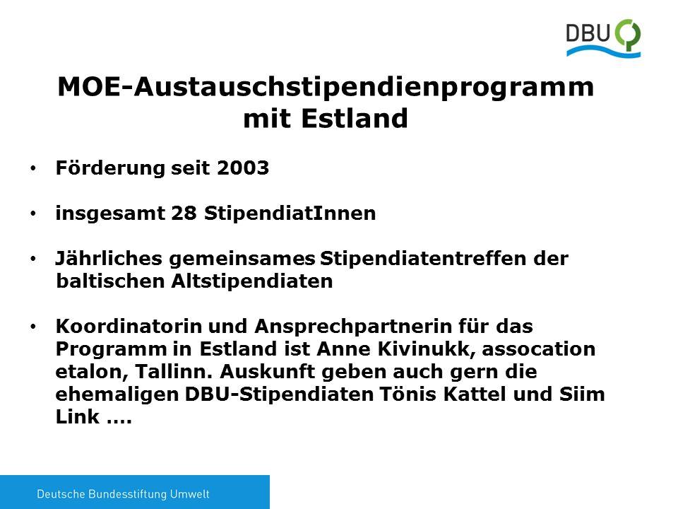 7 MOE-Austauschstipendienprogramm mit Estland Förderung seit 2003 insgesamt 28 StipendiatInnen Jährliches gemeinsames Stipendiatentreffen der baltisch
